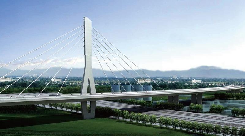 主桥线型位于半径为9200米的圆弧半径上,上部结构均采用全焊单箱三室
